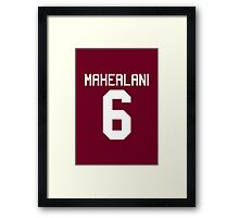 Danny Mahealani Jersey - white text Framed Print