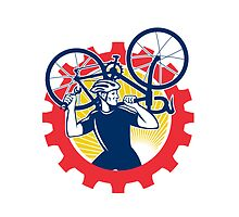 Cyclist Bicycle Mechanic Carrying Bike Sprocket Retro by patrimonio