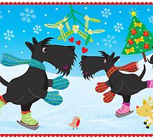 Ice Skating Scottie Dogs by BonniePortraits