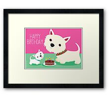 Birthday cake and Westies Framed Print