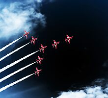 Red Arrows Swan 1 Formation by Paul Madden
