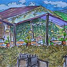 Watercolor Sketch - A Terrace on a Farm in Southern Sicily. 2013 by Igor Pozdnyakov