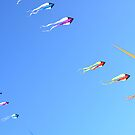Flying kites in a  blue sky by 7horses