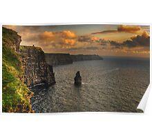cliffs of moher scenic sunset landscape seascape ireland Poster