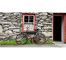 rural old stone cottage house bicycle countryside ireland Photographic Print