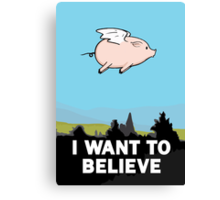 The X-Files: I Want to Believe Poster Flying Pig Spoof Canvas Print