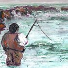 Fishin', Hopin', Prayin' (Mixed Media) by Niki Hilsabeck