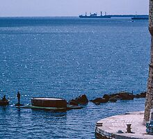 Workmen at entrance to Taranto Harbour 198403310042  by Fred Mitchell