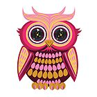 Star Eye Owl - Pink Orange by Adamzworld