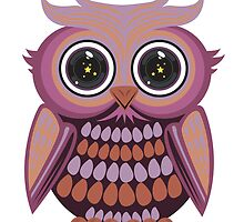 Star Eye Owl - Purple Orange by Adamzworld