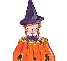 Witch in Pumpkin by carla zamora