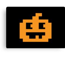 8 Bit Pixel Jack O' Lantern Pumpkin Head Canvas Print