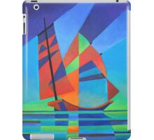 Cubist Abstract Junk Boat Against Deep Blue Sky iPad Case/Skin