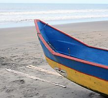 Blue and Yellow Fishing Boat on the Beach by rhamm
