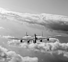 Lancaster sunlit black and white version by Gary Eason + Flight Artworks