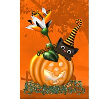 Cheeky Halloween Cat Photographic Print