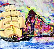 The Golden Clipper in Rough Sea at Gibraltar by Dennis Melling