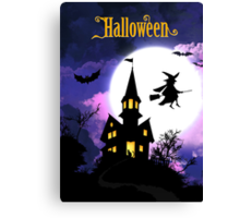 Scary Haunted House Happy Halloween Canvas Print