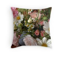 Pink and White Summer Bouquet Throw Pillow
