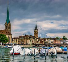 Fraumunster Cathedral and St.Peter Church in Zurich by Ivo Velinov