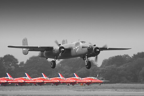 B-25J Mitchell And The Reds - Dunsfold 2013 by Colin J Williams Photography