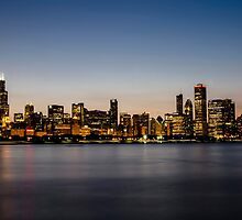 Classic Chicago skyline at dusk by Sven Brogren