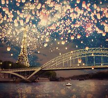 Love Wish Lanterns over Paris by BelleFlores