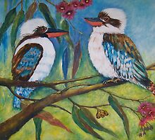 Kookburras in Gum Tree by Glenys Coleman