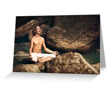 Laughing Young Man in Meditation Posture Greeting Card