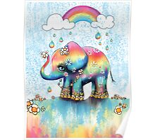 Little Rainbow Elephant Poster