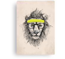 Hipster lion (light background) Canvas Print