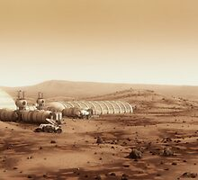 Mars Settlement landscape with farm by BryanVersteeg