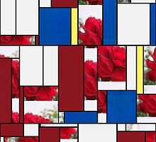 Red Rose Edges Art Rectangles 4 by Christopher Johnson