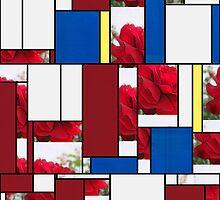 Red Rose Edges Art Rectangles 4 by Christopher Johnson