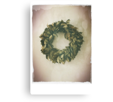 Antique Look Wreath of Dried Bay Leaves Canvas Print