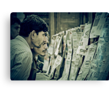 Men and the News Canvas Print