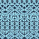 Ikat Lace in Pale Blue on Navy by micklyn