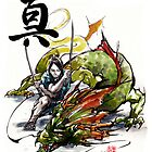 Samurai and Dragon Sumie Style with calligraphy Truth by Mycks