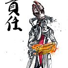 Mordin from Mass Effect Sumie Style with calligraphy Responsibility by Mycks