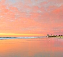 Dawn on Main Beach - Gold Coast Qld Australia by Beth  Wode