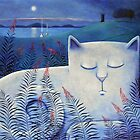 Blind white cat on a moonlit night. by vickymount