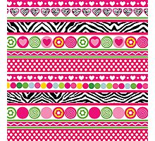 Colorful abstract zebra hearts and dots pattern Photographic Print