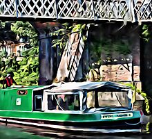 Green Barge & Bridge by Paul Stevens