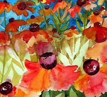 Bright Heleniums by Val Spayne