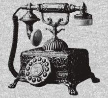 Antique Telephone. Digital Antique Engraving Image Kids Clothes
