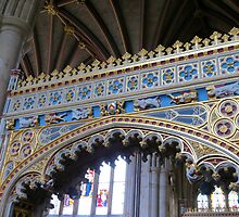 Fine Workmanship in Gold and Blue - Exeter Cathedral by kathrynsgallery