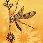 Abstract summer background with a dragonfly by Nika Lerman