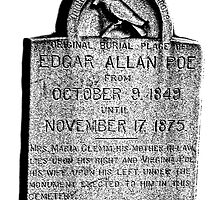 Edgar Allan Poe Tombstone. Creepy Halloween Digital Engraving Image by digitaleclectic
