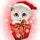 Kitten Christmas Santa with Big Red Gift by BluedarkArt
