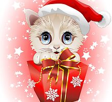 Kitten Christmas Santa with Big Red Gift by BluedarkArt